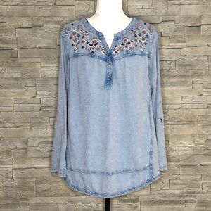 Style & Co blue embroidered shirt